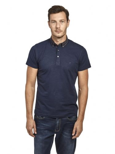 Mish Mash Men's Designer Navy Short Sleeve Button Down Check Collar Polo Shirt